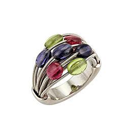 Marco Bicego Multiple Gemstones 18k White Gold Flex Band Ring