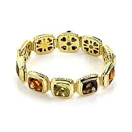 David Yurman Multicolor Gems 18k Yellow Gold Cable Cushion Link Bracelet