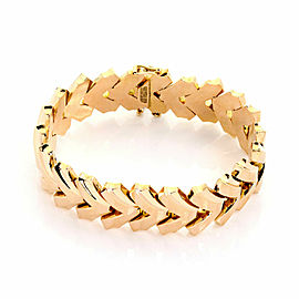 Retro 18k Rose Gold 18.5mm Wide Fancy Flex Link Bracelet