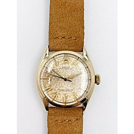 Vintage Rolex 6084 Oyster Perpetual 14K Yellow Gold Leather Band