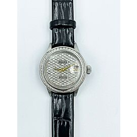 Rolex Ladies Datejust 6917 Diamond Dial Diamond Bezel Stainless Leather Strap