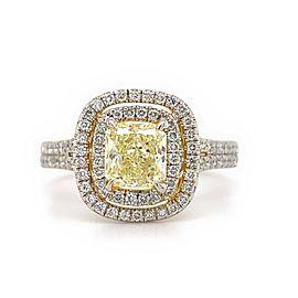 HENRI DAUSSI Radiant Diamond 2.02 Tcw Double Halo Engagement Ring Platinum GIA