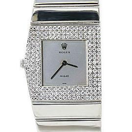 Rolex Cellini King Midas 4609 Rare 18K White Gold Factory Diamond Manual 27MM