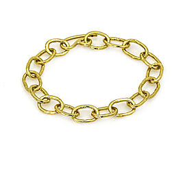 Women's Hammered Oval Link Bracelet in 18k Yellow Gold