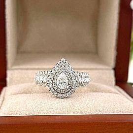 VERA WANG Love 1.00 tcw Pear Shape Diamond Sapphire Double Frame Engagement Ring
