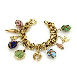 Enamel Hefty 10 Charms Large Triple Link 14k Yellow Gold Bracelet