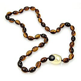 """Tiffany & Co. 18k Yellow Gold Tiger's eye beaded necklace 33"""" Long"""