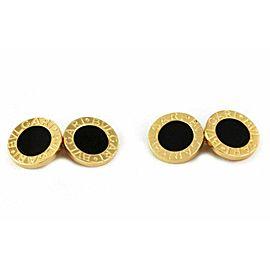 Bvlgari Onyx 18k Yellow Gold Double Circle Chain Cufflinks