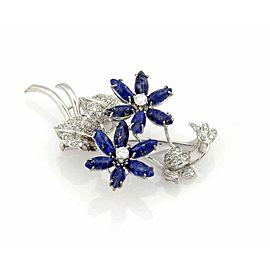 Diamond & Lapis 18k White Gold Floral Brooch