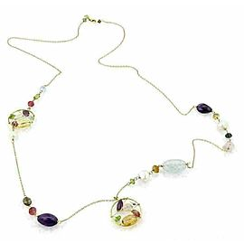 """Tous Multi Gemstone & Pearls 18k Yellow Gold Long 26"""" Necklace"""