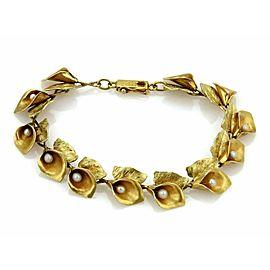 Art Nouveau Pearls Calla Lilly Floral 18k Yellow Gold Link Bracelet
