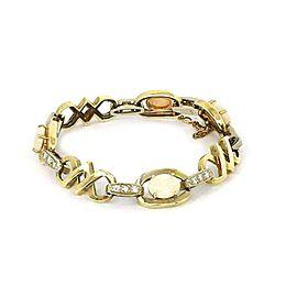 Estate 4.90 Opal & Diamond 14k Two Tone Gold Fancy Link Bracelet