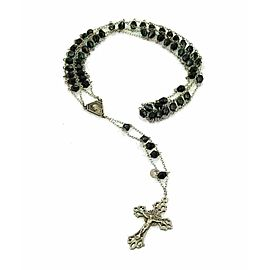Vintage 800 Silver & Onyx Cross Pendant Beaded Rosary Necklace