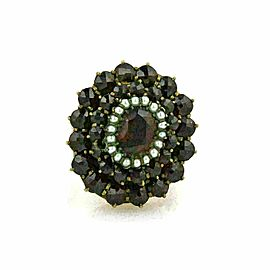 Garnet & Seed Pearls 14k Yellow Gold Cluster Ring