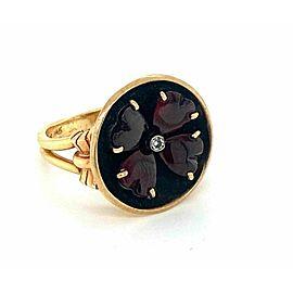 Vintage Diamond & Garnet 14k Two Tone Gold Round Top Floral Ring