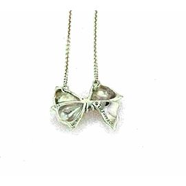 Tiffany & Co. Sterling Silver Ribbon Bow Pendant & Chain Necklace