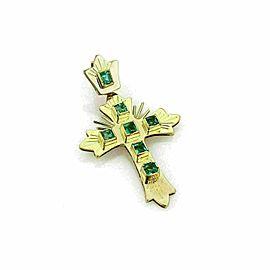 Colombian Emerald 18k Yellow Gold Fancy Cross Pendant