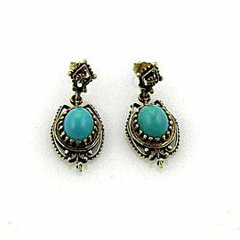Vintage Oval Turquoise Dangle 14k Yellow Gold Earrings