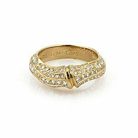 Cartier Bamboo Diamond 18k Yellow Gold Band Ring Size 52