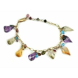 BH Signed Multi-Color Gems Dangling Bead Charms 14k Yellow Gold Bracelet