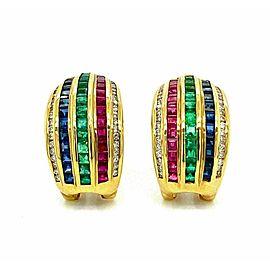 LeVian Diamond Multicolor Gems 18k Yellow Gold Curved Huggie Earrings