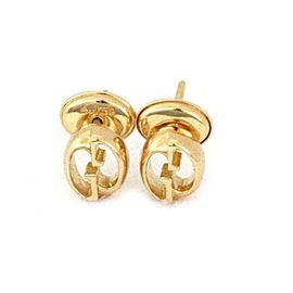 Gucci G Logo Oval Shape Stud 18k Yellow Gold Earrings