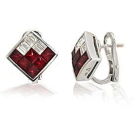 2.40 CT Natural Ruby & 0.90 CT Diamonds in 18K White Gold Omega Back Earrings
