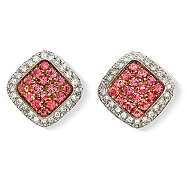 1.80 CT Natural Pink Sapphire & 1.68 CT Diamonds in 18K White Gold Earrings