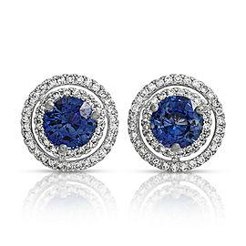 2.26 CT Natural Blue Sapphire & 0.47 CT Diamonds14K White Gold Stud Earrings