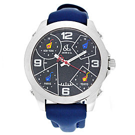 Jacob & Co. Five 5 Time Zone JCM-29 Stainless Steel 40MM Watch Navy Blue Strap