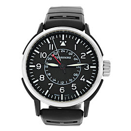 Tourneau TNY Aviator GMT TNY440401001 Mens Steel PVD 44MM Automatic Watch