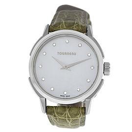 Tourneau TNY Roventa TNY350701011 Ladies Diamond MOP Steel 35MM Quartz Watch
