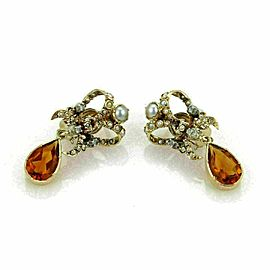 Antique 18k Yellow Gold Citrine & Pearls Ribbon Bow Drop Dangle Earrings