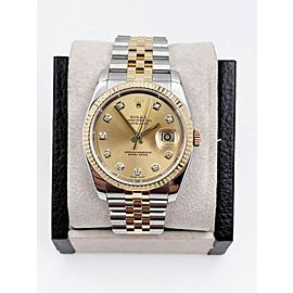 Rolex Datejust 116233 Champagne Diamond Dial 18K Yellow Gold Stainless