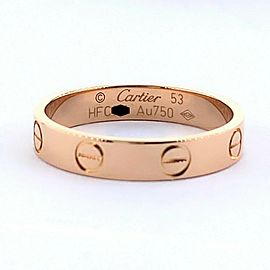 Cartier LOVE Wedding Band Ring Pink Gold Full Set Boxes COA
