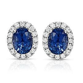 2.69 CT Natural Blue Sapphire & 0.37 CT Diamonds14K White Gold Stud Earrings