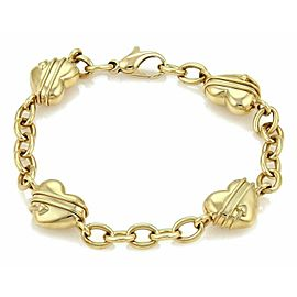 Tiffany & Co. Cupid 4 Heart Charms Oval Chain Link 18k Yellow Gold Bracelet