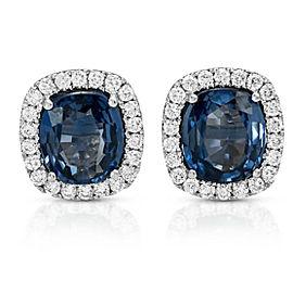 3.84 CT Natural Blue Sapphire & 0.52 CT Diamonds14K White Gold Stud Earrings
