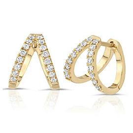 0.38 CT Diamonds in 14K White Gold 10.5 Height Hoop Earrings