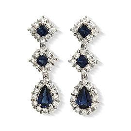 2.70 CT Natural Blue Sapphire & 1.08 CT Diamonds 950Platinum Drop Earrings
