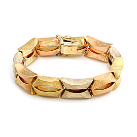 Retro 18k Tri-Color Gold Textured Fancy Link Bracelet