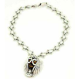 Los Ballestros Tiger's Eye Sterling Lady Masked Face Link Pin Necklace