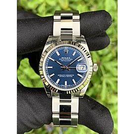 Rolex 178274 Datejust 31mm Blue Dial Midsize Stainless Steel Watch Brand New