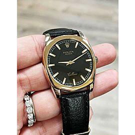 Rolex 4243 Cellini Danaos 18K Rose and White Gold Leather Strap
