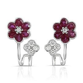 1.60 CT Natural Ruby & 0.45 CT Diamonds in 18K White Gold Flower Earrings