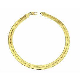Estate 14k Yellow Gold 9.7mm Wide Herringbone Collar Necklace