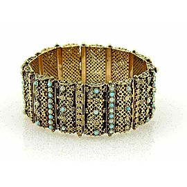Estate Seed Pearl & Turquoise 18k Yellow Gold Wide Bracelet