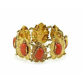 Oval Cabochon Coral 18k Two Tone Gold Textured Leaf Link Bracelet