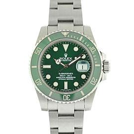 """Rolex 116610lv """"Hulk"""" Submariner Stainless Steel Watch COMPLETE"""