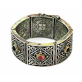 Konstantino Tourmaline 18k Gold Sterling Hefty Wide Hinge Link Fancy Bracelet
